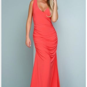 Sleeveless Evening Gown - Coral. NEW WITH TAG